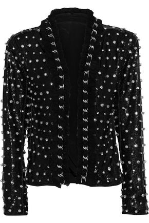 BALMAIN Chain-trimmed crystal-embellished mesh jacket