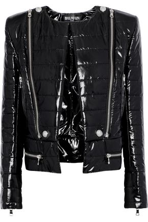 BALMAIN Zip-detailed quilted coated-shell jacket
