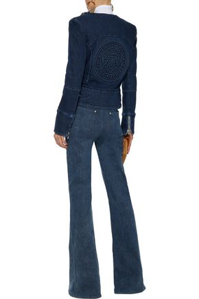 BALMAIN Zip-detailed printed denim jacket