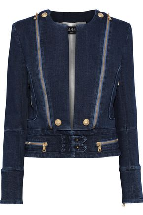 BALMAIN Zip-detailed printed denim jacket