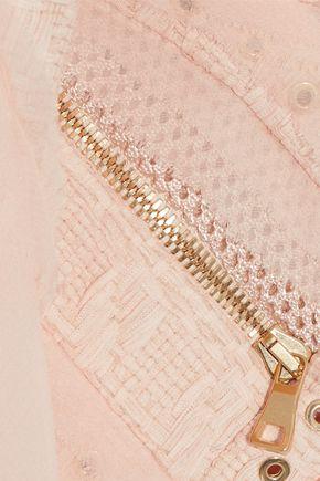 BALMAIN Mesh-paneled georgette-trimmed cotton-blend tweed jacket