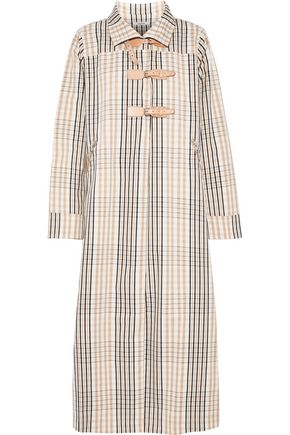 GANNI Leather-trimmed checked cotton-twill coat