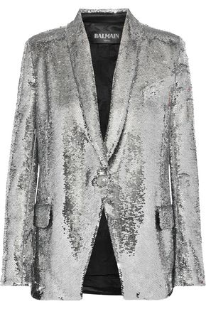 BALMAIN Sequined satin-crepe blazer