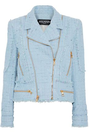 BALMAIN Zip-detailed cotton-blend tweed biker jacket
