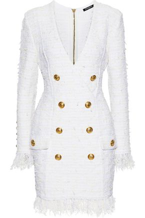 BALMAIN Double-breasted fringe-trimmed bouclé-tweed mini dress