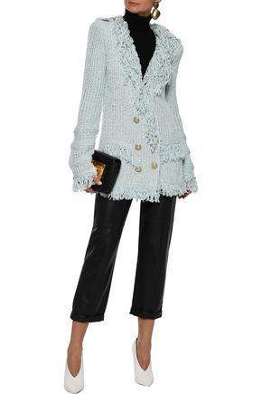 BALMAIN Double-breasted fringed cotton-blend bouclé blazer