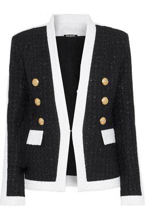 BALMAIN Metallic two-tone bouclé-tweed jacket