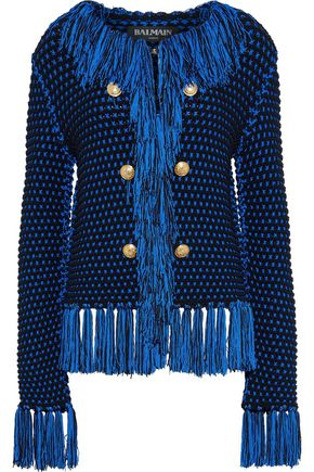 BALMAIN Button-embellished fringed macramé jacket
