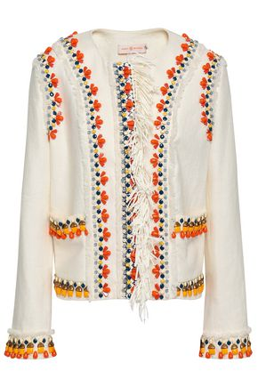 TORY BURCH Embellished linen jacket