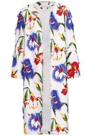 TORY BURCH Embellished floral-print linen jacket