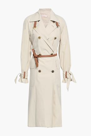 TORY BURCH Leather-trimmed poplin trench coat