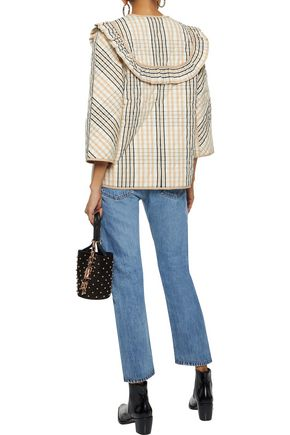 GANNI Ruffle-trimmed quilted checked cotton-twill jacket