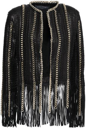 1f5caffb Fringed chain-embellished quilted leather jacket | BALMAIN | Sale up ...