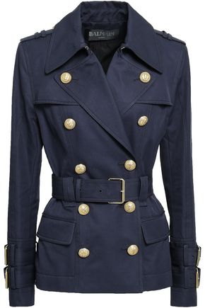 BALMAIN Double-breasted cotton-gabardine jacket
