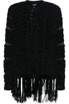 BALMAIN Fringed crochet-knit cotton-blend jacket