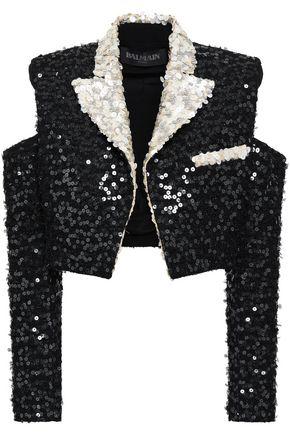 BALMAIN Sequined cutout woven jacket