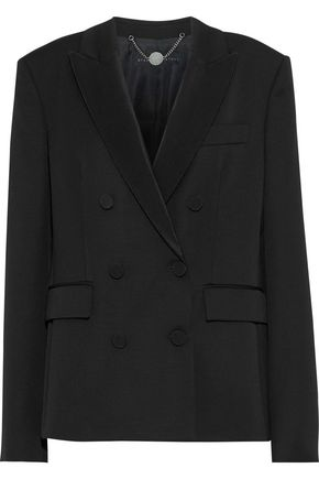 STELLA McCARTNEY Double-breasted twill-trimmed wool blazer