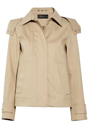 GUCCI Short cotton-canvas hooded trench coat
