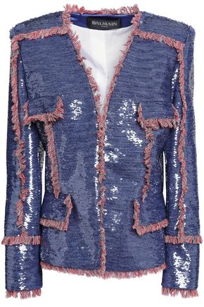 BALMAIN Fringed sequin-embellished woven jacket