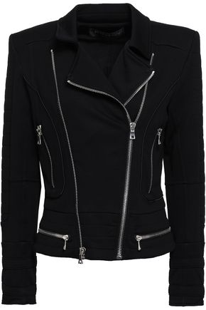 BALMAIN French cotton-terry biker jacket