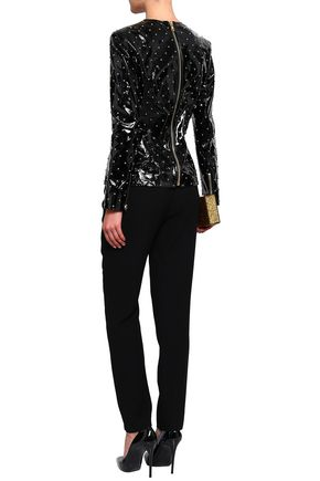 BALMAIN Studded patent-leather top