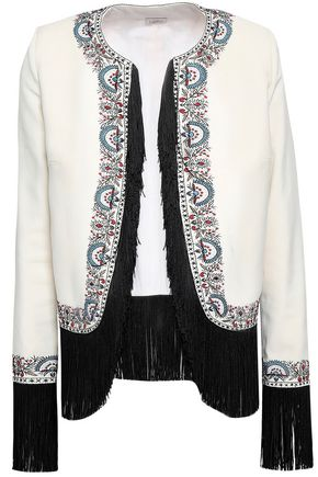 TALITHA Fringe-trimmed embroidered twill jacket
