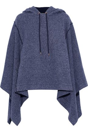 SEE BY CHLOÉ Mélange cotton-fleece hooded poncho