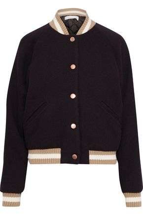 SEE BY CHLOÉ Appliquéd wool-blend twill bomber jacket