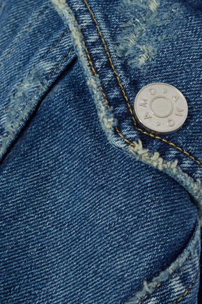 AMO Pop embroidered distressed denim jacket