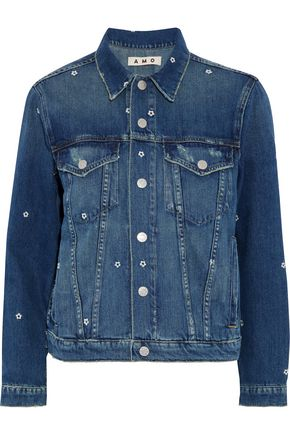 AMO Pop embroidered distressed denim jacket