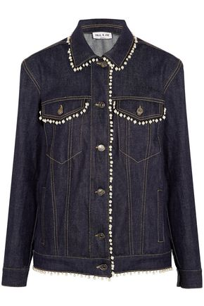 PAUL & JOE Floraison faux pearl-trimmed denim jacket