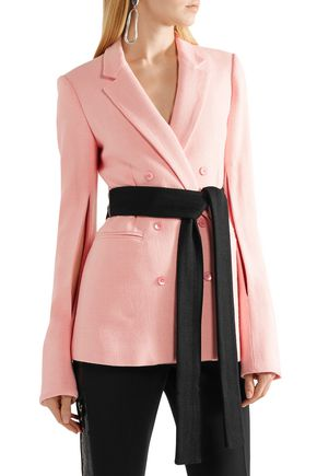 HELLESSY Double-breasted belted crepe blazer