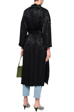 MAJE Belted floral-print satin-jacquard jacket