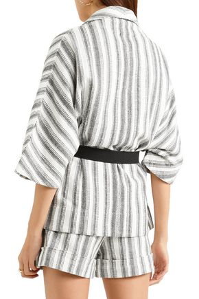 VANESSA BRUNO Iles belted striped cotton-canvas jacket