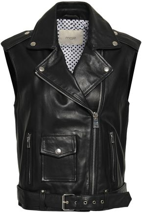 MAJE Leather biker vest