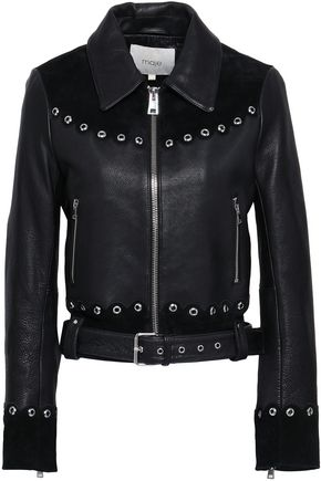 MAJE Eyelet-embellished suede-paneled leather jacket