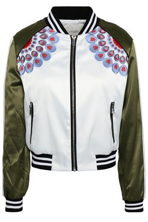 MAJE Embroidered satin bomber jacket