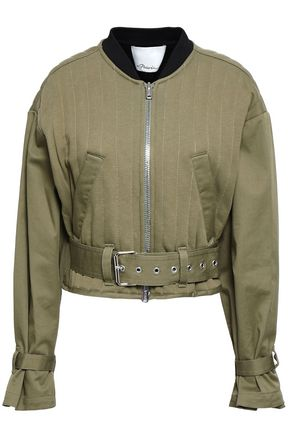 3.1 PHILLIP LIM Cropped quilted cotton-gabardine bomber jacket