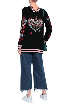 MAJE Embroidered knitted cardigan