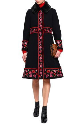 KATE SPADE New York Faux fur-trimmed embroidered wool-blend coat