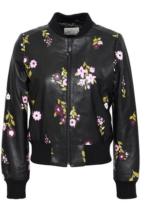 KATE SPADE New York Floral-print leather bomber jacket