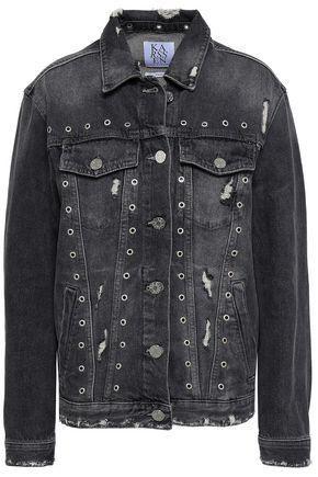 ZOE KARSSEN Eyelet-embellished distressed denim jacket