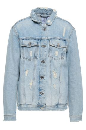 ZOE KARSSEN Appliquéd distressed denim jacket