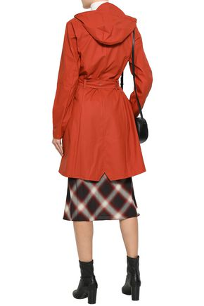 RAINS Belted coated shell hooded raincoat