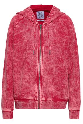 ZOE KARSSEN Printed French cotton-terry hooded jacket