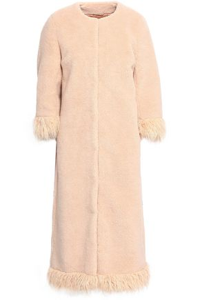 SHRIMPS Ramsey faux fur-trimmed faux shearling coat