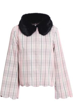 SHRIMPS Bruna faux fur-trimmed checked cotton-gabardine jacket