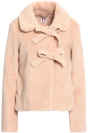 SHRIMPS Oliver bow-embellished faux shearling coat
