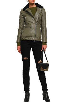 MUUBAA Convertible shearling-trimmed leather biker jacket