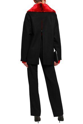 CHALAYAN Faux fur-paneled wool-blend coat